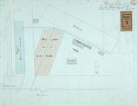 RT-G-FN115-2 Tekening van te maken bergplaatsen en loodsen op een terrein tussen de Koningshaven en de Entrepôthaven.