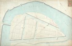 RT-G-FN12 Kaart van het eiland Feijenoord met het ontwerp van een kettingbrug over de Maas, de voorgestelde kanalen en ...
