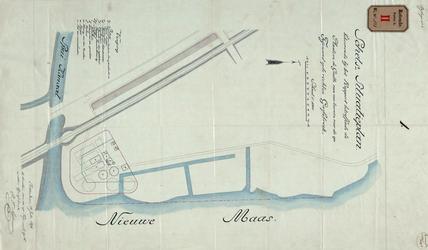 RT-G-FN121-1 Schets-situatieplan van de plaats en de grootte van een terrein bij het Spuikanaal voor de in de wijk ...