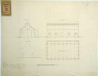 RT-G-FN13 Doorsnede, gevels en plattegrond van een gebouw. De tekening behoort bij het verzoek van G.S. Pieters om een ...