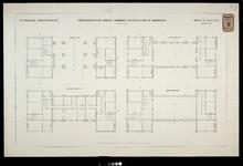 RT-G-FN138-1 Plattegronden van begane grond, eerste, tweede en derde verdieping van het Poortgebouw op het zuidelijk ...