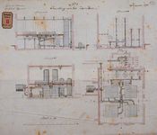 RT-G-FN143-1 Inrichting van het zuiverhuis van de gasfabriek in de wijk Feijenoord, doorsneden en plattegrond.
