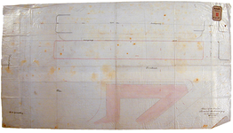 RT-G-FN166 Tekening waarop de gewijzigde rooilijn van de Rosestraat is aangegeven.
