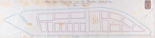 RT-G-FN205-1 Plan tot bebouwing van het Noordereiland met hierop aangegeven de buizen van de drinkwaterleiding.