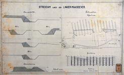 RT-G-FN237 Dwarsprofielen en situatietekening van de strekdam en de grondboringen langs de linker Maasoever bij de ...