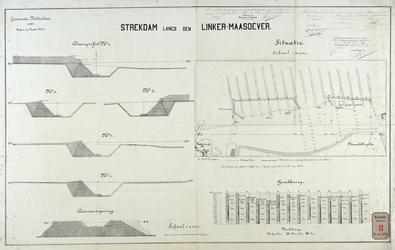 RT-G-FN239 Dwarsprofielen en situatietekening van de strekdam en de grondboringen langs de linker Maasoever bij de ...