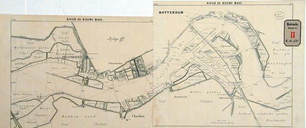 RT-G-FN241-7 Kaart van de Nieuwe Maas met daarop aangegeven de plaats van de strekdam aan de linker Maasoever ten ...