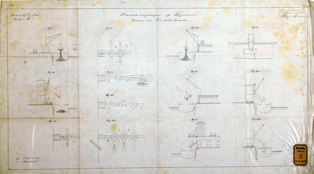 RT-G-FN242 Tekening met daarop afgebeeld figuur I t/m XIII, betreffende de kolentip en de uitvoer van duitse steenkool. ...