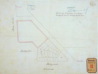 RT-G-FN262 Situatietekening van achttien stukken te verkopen bouwgrond aan de Stieltjesstraat, het Stieltjesplein en de ...