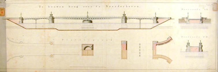 RT-G-FN56-4 Ontwerptekening van een brug over de Noorderhaven; de aan te leggen haven die later Koningshaven is ...