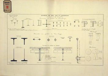 RT-G-FN77-15 Doorsneden van gedeelten van de bovenbouw van de brug over de Koningshaven. Koninginnebrug.