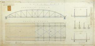RT-G-FN77-4 Aanzicht en plattegrond van de vaste brug van de brug over de Koningshaven. Koninginnebrug.