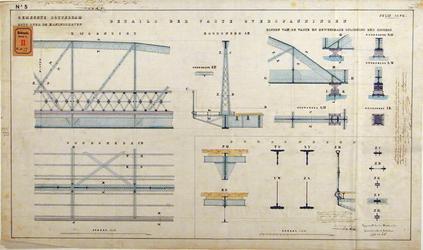 RT-G-FN77-5 Details van de vaste overspanningen van de brug over de Koningshaven. Koninginnebrug.