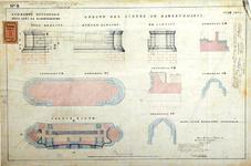 RT-G-FN77-8 Aanzichten, doorsneden en plattegrond van de opbouw van de linker- en de rechterpijler van de brug over de ...