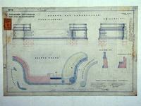 RT-G-FN77-9 Aanzichten en plattegrond van de opbouw van de landhoofden van de brug over de Koningshaven. Koninginnebrug.
