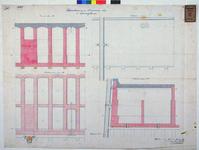 RT-G-FN93 Doorsneden en plattegrond van de bovenbouw van de kademuur langs de Spoorweghaven.