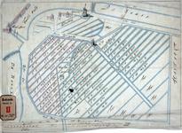 RT-I-34-a Tekening van landmetingen van het voormalige Hof van Weena, waar sinds 1592 lakenramen waren geplaatst voor ...