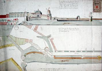 RT-I-64 Boven: Gezicht op de Oostpoort vanaf de Cingel, later de Oostsingel genoemd, met een gedeelte van de muur en de ...