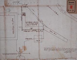 RT-I-67 Kaart van percelen aan het Bosland bij het Boerengat. Er is een omklapbaar stukje op de tekening geplakt.