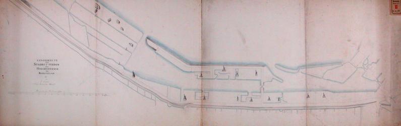 RT-I-70 Onafgewerkte kaart van een gedeelte van de stad Rotterdam van de Hoge Zeedijk en van het Bosjeseiland. Met ...