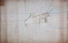 RT-I-78-1 Plan van de omtrek en de stand van de nieuwe Delftse Poort. Op de tekening zijn 2 aparte ontwerpen vastgemaakt.