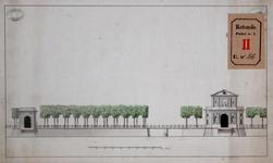 RT-I-86 Aanzicht van de Hofpoort, de Galerijbrug en de nieuwe Delftse Poort.