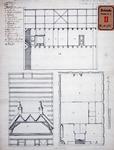 RT-I-92-4 Ontwerp voor een diaconieschool in de Nieuwsteeg bij het Bombazijnenkerkhof: verticale dwarsdoorsneden en ...