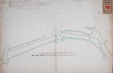 RT-I-93-12 Kaart met daarop aangegeven de maten van A: het Buizengat; B: het waterloopje tussen de Stadstimmerwerf en ...