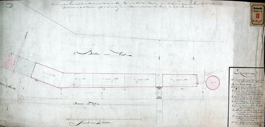 RT-I-97 Kaart met daarop aangegeven de erven die van de Varkensmarkt tot aan de molen de Hoop op de Vest tot ...