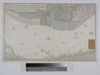 RT-II-100 Kaart van het Nieuwe Werk met de buitengorzen, grienden en aanwassen aan de rivier de Maas vanaf de ...