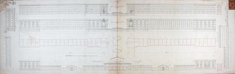 RT-II-108 Plattegronden en aanzichten van het ontworpen entrepot met sluis aan het Tweede Nieuwewerk.