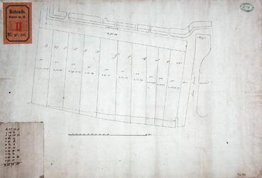 RT-II-116 Plattegrond van de buitengorzen van het Nieuwe Werk (Scheepvaartkwartier), met opgave van de oppervlakte van ...