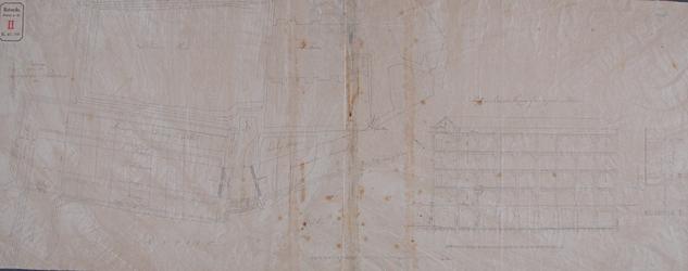 RT-II-118 Plattegrond en dwarsdoorsnedes van een ontwerp van een entrepot en dok te maken op de plaats van de ...