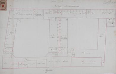 RT-II-122-4 Ontwerp tot verbouwing van het Pest- en Dolhuis aan de Hoogstraat. Tekening D, plattegrond van de tweede ...