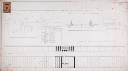 RT-II-124 Ontwerp van een magazijn van 57 pakhuizen voor het entrepot en dok met het profiel van de breedte van het ...