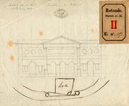 RT-II-127-2 Schets van de Oostpoort en het huis van J. Kok. Aan het huis van J. Kok zijn bij de verbouwing van de ...