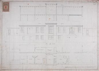 RT-II-128 Plattegrond, aanzicht en doorsnede van de woning van de koster van de Oosterkerk aan de zijde van de Kipsloot.