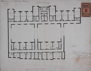 RT-II-130-1 Ontwerp voor het te bouwen nieuwe ziekenhuis aan de Coolsingel. Plattegrond van de kelderverdieping. ...