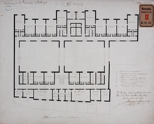 RT-II-130-3 Ontwerp voor het te bouwen nieuwe ziekenhuis aan de Coolsingel. Plattegrond van de tweede verdieping. ...