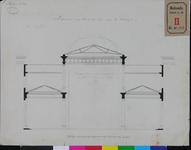 RT-II-136-1 Ontwerptekening van de overdekking van het plein, de Beurs en tot afsluiting van de galerij met glasramen ...