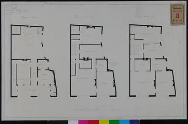 RT-II-148-1 Plattegronden van de begane grond, de eerste en de tweede verdieping voor de verbouwing van een huis aan de ...