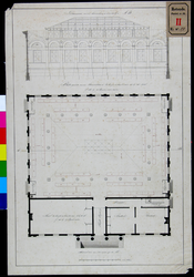 RT-II-174-2 Dwarsdoorsnede en plattegrond van de nieuwe Korenbeurs aan de Middensteiger.