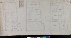 RT-II-178-1 Plattegronden van de begane grond, 1e, 2e en 3e verdieping van het politiebureau aan de Kaasmarkt naast het ...