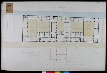 RT-II-187-2 Ontwerp van de verbouwing van het Pest- en Dolhuis aan de Hoogstraat. Plattegrond van de eerste verdieping.
