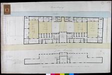 RT-II-187-3 Ontwerp van de verbouwing van het Pest- en Dolhuis aan de Hoogstraat. Plattegrond van de tweede en de ...