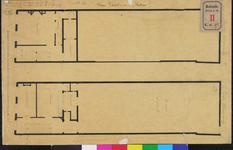 RT-II-197-2 Plattegrond van de eerste en tweede verdieping voor het maken van een school in de Houttuin.