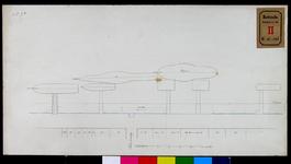RT-II-206-5 Tekening voorzien van goede ligplaatsen voor de stoomboten aan de Boompjes nabij de Grote Draaisteeg (variant 5).