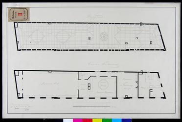 RT-II-206-9 Plattegrond van het dak (kapgrond) en de 2e verdieping van het Zakkendragershuis aan de Nieuwemarkt.