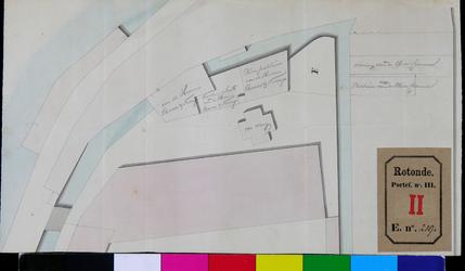 RT-III-219 Situatietekening van enkele percelen aan de Vest nabij de Doelsloot en de veewaag naast het bierpakhuis van ...