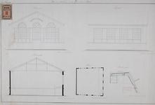 RT-III-236 Ontwerp voor een gymnastiekschool aan de Baan, achter het Armhuis (situatie, plattegrond, dwarsdoorsnede, ...
